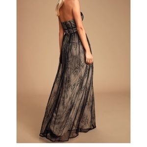 Lulu's Dresses - Lulu's black lace bustier strapless maxi dress L